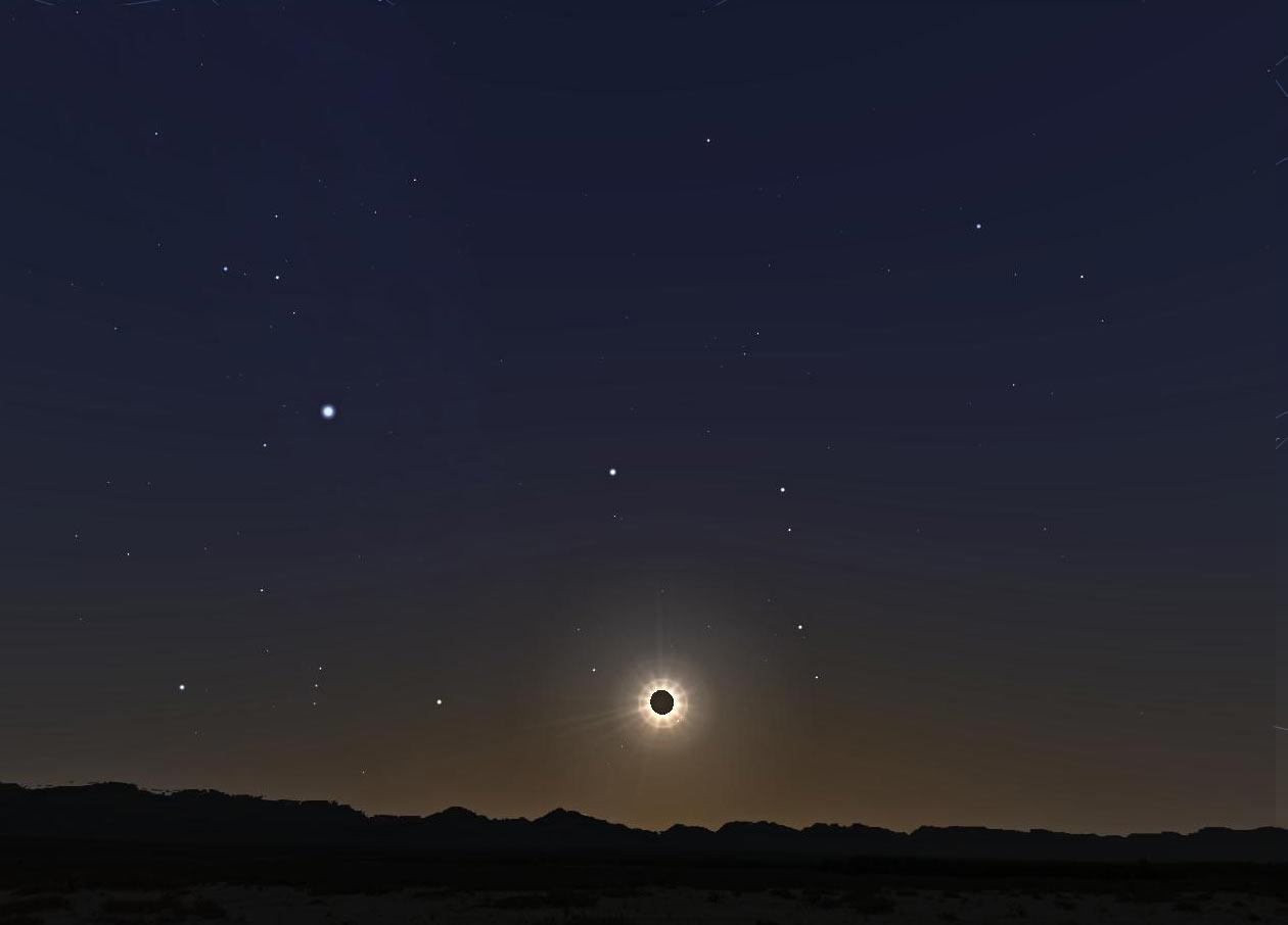 Aspecto del cielo simulado para el momento del máximo del eclipse